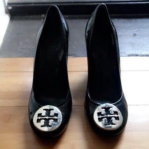 Tory Burch black wedged heels